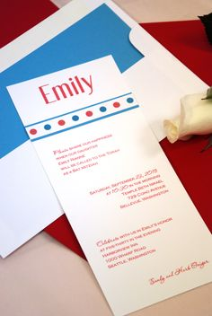 Emily in Red and Blue: Contemporary Glo-Brite Bat Mitzvah Invitation featuring colorful ink. Totally customized, you can change the paper to a different color and use it for a bar Mitzvah or Bat Mitzvah . Flat printing. Bar mitzvah and bat mitzvah party invitation, Bar bat mitzvah invitation.