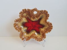 """Vintage Pottery Dish by """"Belgo"""" Canadian MFG. in Caramel Browns to Red Drip Glaze, Montreal by on Etsy Retro Vintage, Vintage Items, Caramel Brown, Vintage Dishes, Vintage Pottery, Recycled Materials, Victorian Era, Montreal, Glaze"""
