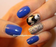 Chevron, glitter, and a pop of blue.