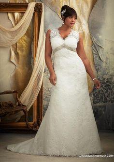 GORGEOUS: Front! | Wonderful Mori Lee Julietta 3131 Plus Size Lace Wedding Dress | Plus Size Wedding Dresses