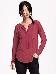 Women's Bib-Front Sweater Knit Henley   Old Navy