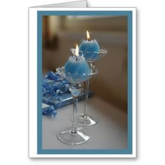 Blue Candles Greeting Cards
