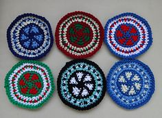 Colorful tapestry crochet pattern for mat/mug rug/coaster.