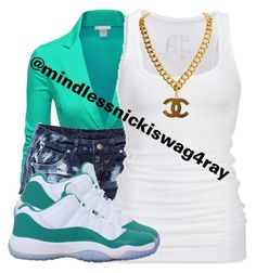 """Teal Princess."" by mindlessnickiswag4ray ❤ liked on Polyvore featuring Doublju, H&M, American Eagle Outfitters and NIKE"