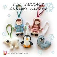 Eskimo Kisses Christmas Ornament decorations - pdf pattern by sewsweetuk on Etsy https://www.etsy.com/listing/203348633/eskimo-kisses-christmas-ornament