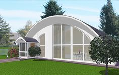 k-span house Arch House, Dome House, Metal Building Homes, Building A House, Building Ideas, Quonset Hut Homes, Fibreglass Roof, Steel Roofing, Pole Barn Homes