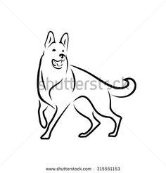 German shepherd dog - vector illustration  - stock vector