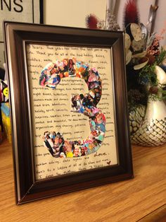 3 Year Anniversary Gift - Make a photo collage into any number, write a little note in the background and frame it for a sweet, crafty and classy gift!