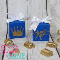 Royal Blue, White & Glitter Gold Medium Box Favors Boxes - 10 Boxes  - Simple Assembly Required - Prince Crown or Thank You Script by LovinglyMine on Etsy
