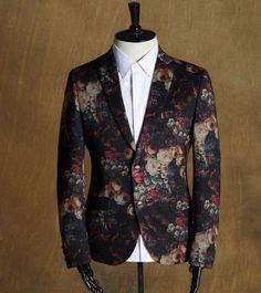 Fashion Mens British One Button Slim Floral High Quality Formal Coats Blazers #   eBay