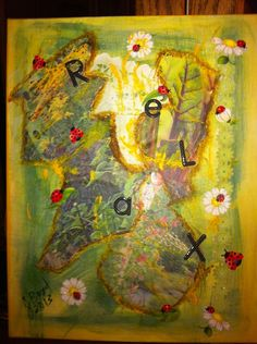 Collage painting: yellow/green background, torn magazine pages of flower gardens, with red lady bugs.