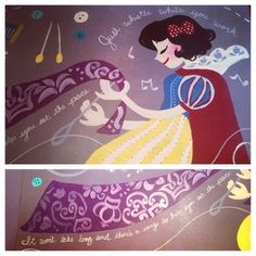 Snow White mural details by tumblr request. She is on the surface of my work desk :)