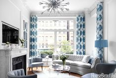 blue + white living room