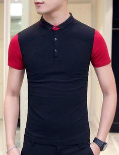 Men's Slimming Splicing Pullover Short Sleeves Polo T-Shirt