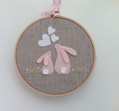 Pink rabbit nursery art. Baby girl gift