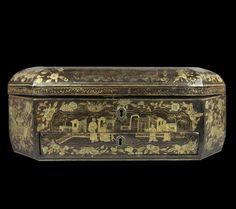 Exceptional Antique Chinese Lacquered Sewing Box And Contents, 18th c.