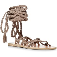 Ancient Greek Sandals Kariatida Braided Gladiator Sandals ($640) ❤ liked on Polyvore featuring shoes, sandals, ankle strap sandals, roman sandals, greek sandals, gladiator sandals and woven leather flats