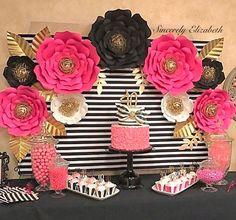 9 pieza Kate Spade inspirado papel flores decoración de la