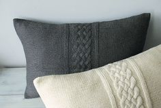 Cable Knit Pillow Cover In Charcoal Gray 12x18 by DelindaBoutique