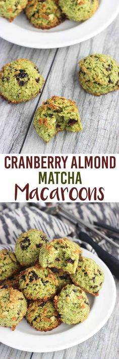 Cranberry Almond Matcha Macaroons - classic coconut macaroons are given a flavor overhaul with matcha (green tea) powder, dried cranberries, and almonds. Festive for the holiday season!
