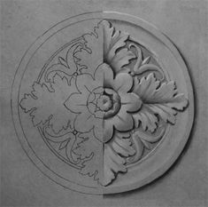 r_half. Wood Carving Patterns, Carving Designs, Molduras Vintage, Ornament Drawing, Chip Carving, Grisaille, Motif Floral, Hand Engraving, Art Techniques
