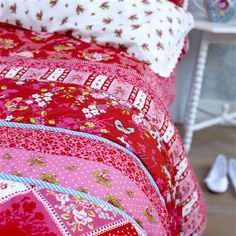 PiP Studio Flower Harmony 270x265cm Quilted Bedspread, Red