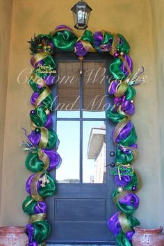 Mardi Gras Mesh Door Garland Swag  Custom by CustomWreathsAndMore, $175.00