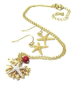 Sea Life Theme Textured Starfish Pendant Necklace Earring Set / AZNSSEA002-GRS  Price : $20.00 http://www.arrascreations.com/Textured-Starfish-Pendant-Necklace-AZNSSEA002-GRS/dp/B00LSZYH14