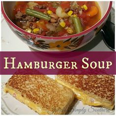 Hamburger Soup (hobo stew) ground beef and vegetable soup - Julia's Simply Southern Hamburger Vegetable Soup, Hearty Vegetable Soup, Hamburger Stew, Beef Soup Recipes, Cooking Recipes, Potluck Recipes, Easy Recipes, Soup With Ground Beef, Comfort Food