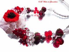 Défi Mai, les fleurs : Réservé, collier rouge, Coquelicot : Collier par l-atelier-de-gwendoline