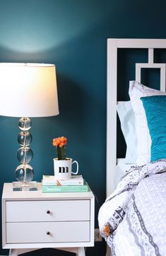 New Bedroom Paint Color & Painting Lessons Learned Bedroom with dark teal walls: Benjamin Moore Galapagos Turquoise Teal Bedroom Walls, Teal Walls, Bedroom Paint Colors, Bedroom Decor, Dark Teal Bedroom, Star Bedroom, Dark Walls, Master Bedrooms, Girls Bedroom
