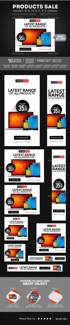 Product Sale Web Banners Template PSD | #productwebbanners #webbanners #salewebbanners | Buy and Download: http://graphicriver.net/item/product-sale-banners/10024830?ref=ksioks