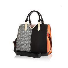 Black and orange split front tote bag $80.00