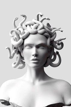 Medusa Kunst, Medusa Art, Retro Kunst, Retro Art, Kefir, Vaporwave Wallpaper, Greek Statues, Ange Demon, Greek Art
