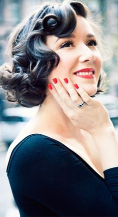 Retro Hair & Makeup - want my wedding hair like this but longer, and maybe pink lipstick :)