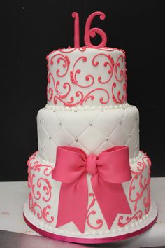 sweet 16 cake, maybe in red and black and gold instead
