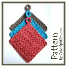 Thick With Color Potholders Crochet Pattern by Melanie Rice for ColorSpot Designs.     Say goodbye to those outdated quilted potholders and crochet these bold additions to modern decor!. These are nice and thick, and look fantastic in such great colors. They are quick to finish, using 2 strands of cotton held together. They're easy to adjust to make any size you want - the pattern provides the multiple needed to change the size!
