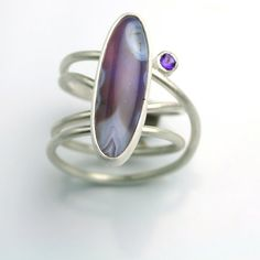 Statement Ring Amethyst Ring Amethyst Agate by fussjewelry