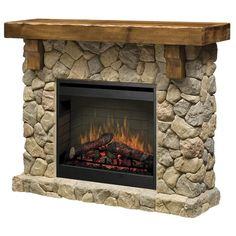 Electric fireplace! I have never seen one with stone before. I LOVE the mantel.