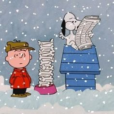 Snoopy with bowl of bones, reading newspaper