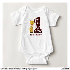 Camisa do aniversário do girafa primeira camiseta