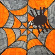 Une araignée et sa toile colorée. Crayons de feutre pour la toile. On bricole ensuite notre araignée que l'on colle dessus.