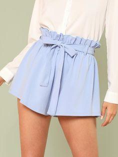 27f5952d5b9e SHEIN Blue Vacation Boho Bohemian Beach Ruffle Trim Self Tie Elastic High  Waist Belted Shorts Summer Women Casual Shorts
