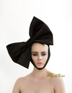 Black Couture Bow Headpiece Black bow avant garde by ArturoRios, $220.00