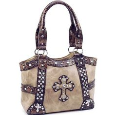 Brown Rhinestone Cross Frame Shoulder Handbag Purse w/ Floral Embossed Trim