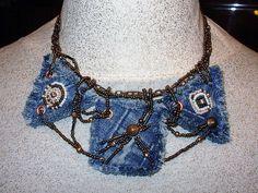 Blue Denim necklace and earrings set by flowersbyirene, via Flickr