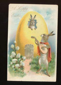 Dressed Rabbit with Mandolin & Egg Antique Embossed Tuck Easter Postcard-jjj-20
