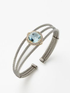 Round Blue Topaz Celtic Cable Cuff by Charriol at Gilt Rings Cool, Pretty Rings, Charriol, My Birthstone, Ring Necklace, Colored Diamonds, Blue Topaz, Gifts For Mom, Bangle Bracelets