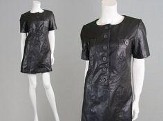 Vintage 80s Real Leather Dress Shift Dress Mod by ZeusVintage