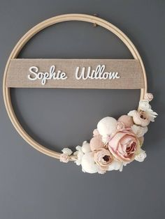 personalized wedding Hoop Name, Door Sign - Custom To Order Make your wall beautiful with this soft and boho ! Perfect for any room! The base is a natural wood hoop made of artifi Birthday Decorations, Wedding Decorations, Paint Your House, Eco Friendly Toys, Diy Baby Gifts, Name Plaques, Wooden Hoop, Baby Keepsake, Candle Centerpieces